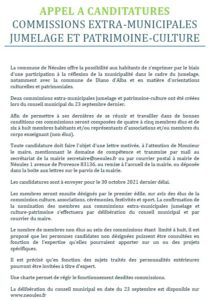 Appel à Candidatures – Commissions Extra Municipales